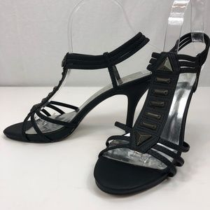 NEW YORK TRANSIT black ankle strap heel 7.5M